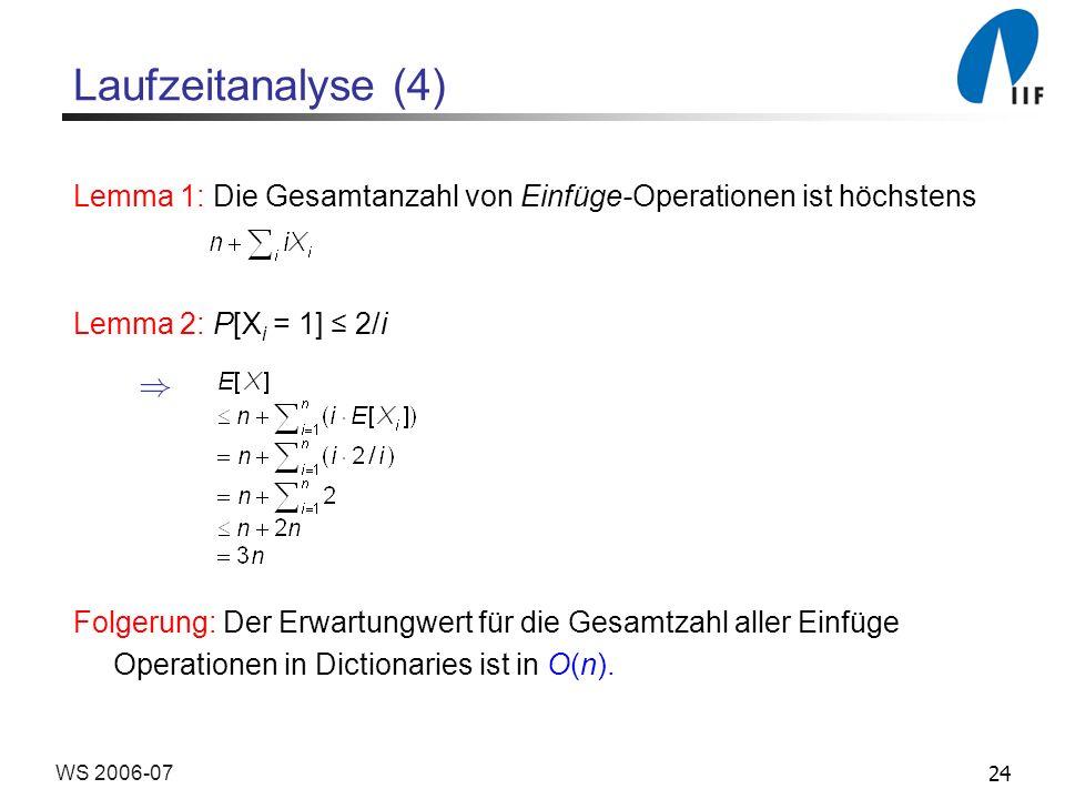 Laufzeitanalyse (4) Lemma 1: Die Gesamtanzahl von Einfüge-Operationen ist höchstens. Lemma 2: P[Xi = 1] ≤ 2/i.